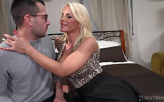 Hot mom Tiffany Rousso seduces stepson and rides his meaty gumshoe