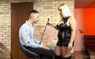Of age escort mistress Anna Valentina bangs young submissive dude