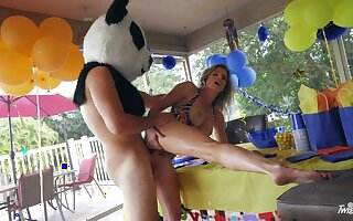 Panda bear with giant dick, hard sex with the birthday girl's hot mom