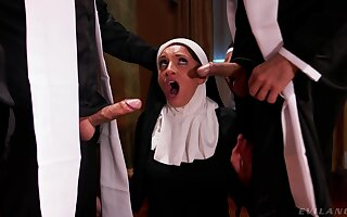 Hot nun pleases these men with regard to make an issue of dirtiest threesome