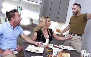 New dad's girlfriend Phoenix Marie gives a blowjob by way of American anthem