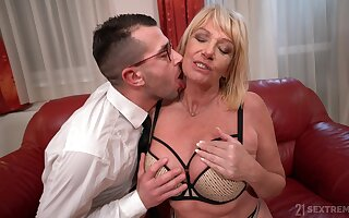 Mature witticisms with nephew's sperm after bestial fucked hard