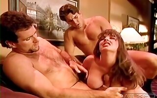 Retro video of saleable wife Alexis Devell having a MMF threesome
