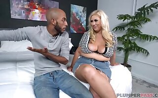 Curvaceous blonde woman, Lila Lovely got down and destructive with a black guy, just for distraction