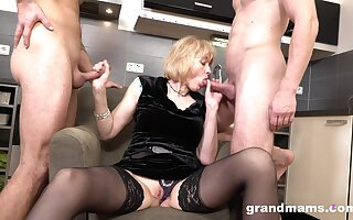 Beneficent grey explicit enjoys first time triple sex in a handful of young ragtag