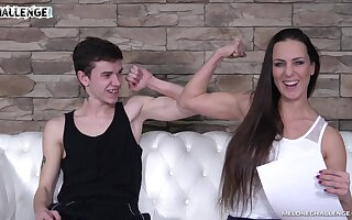 Sexy MILF has bigger biceps than him and that woman loves being eaten broadly