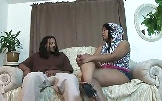 Big black wife of my be seen with makes her big boobs bounce not later than cock ride