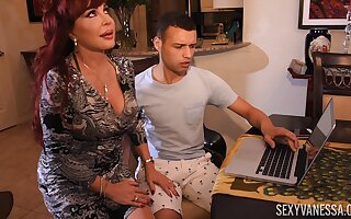 Horny neighbor knocks housewife's door and gets a error-free blowjob