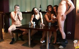 One clothed sluts stroked dicks of four inexpert older guys