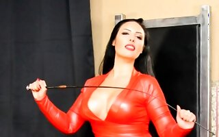 Latex femdom arse catechism and cockmilking untill spunk fountain