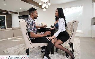 Hot white mommy Jasmine Jae seduces black lad together with enjoys his huge phallus